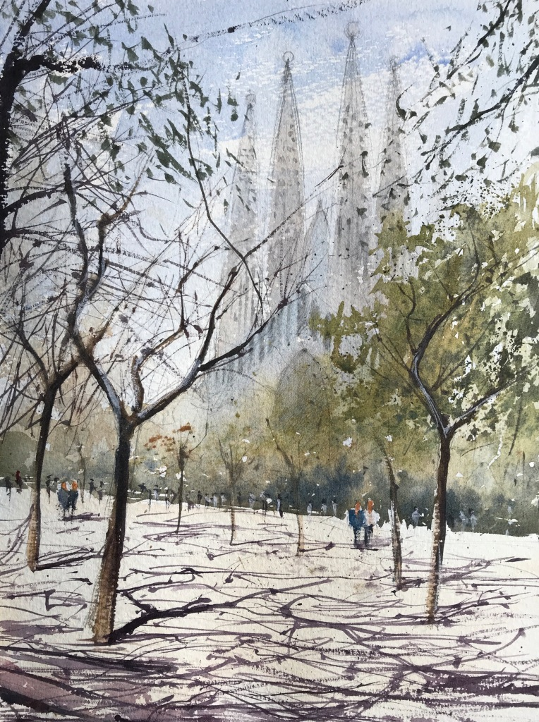 Watercolour painting of La Segrada Familia, Barcelona by John Haywood