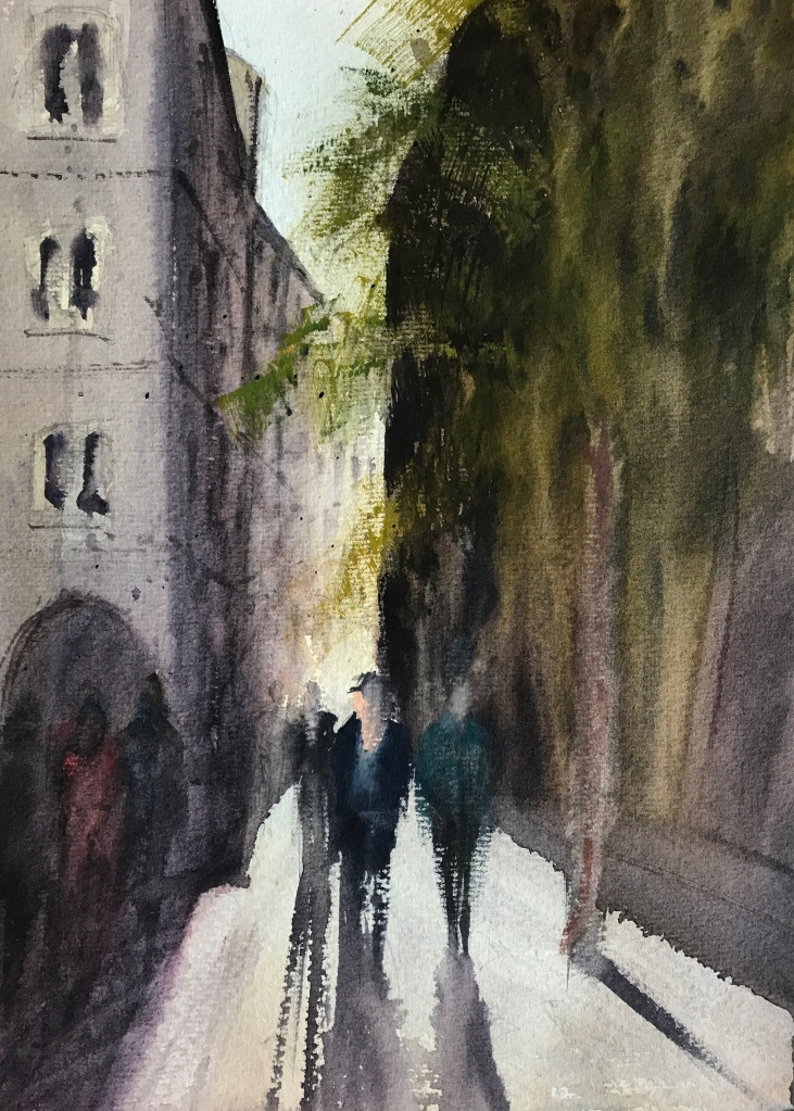 Watercolour painting of a Barcelona street view by John Haywood