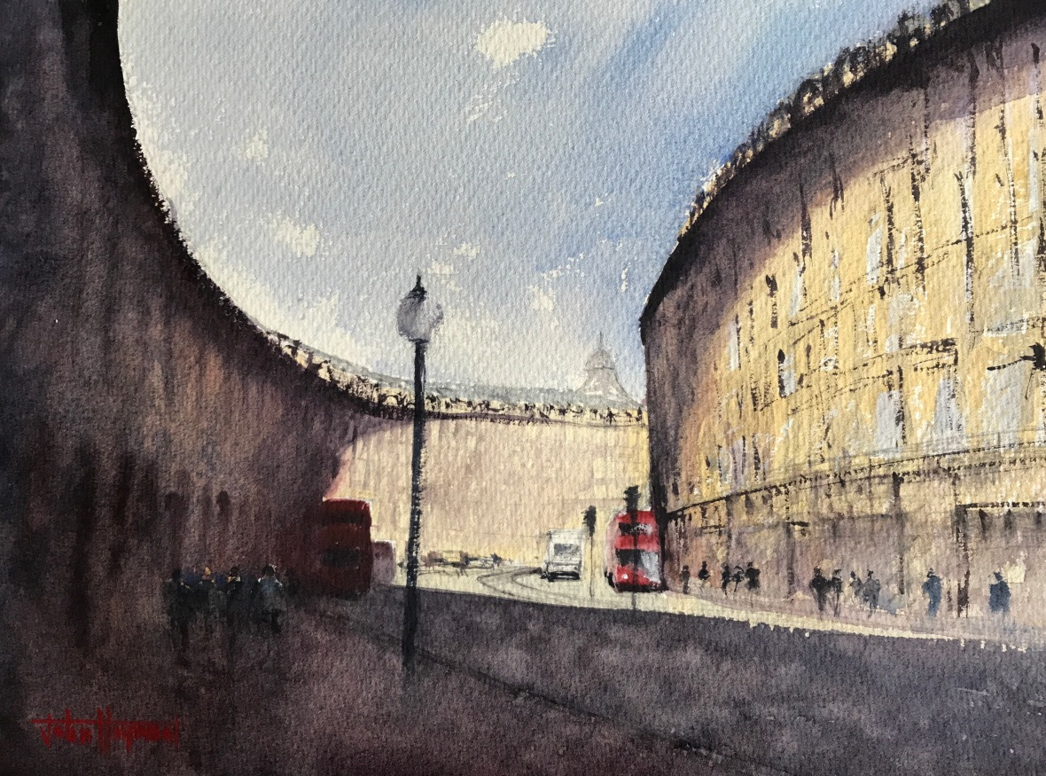 Watercolour painting of a sunny morning on Regent Street, London by John Haywood