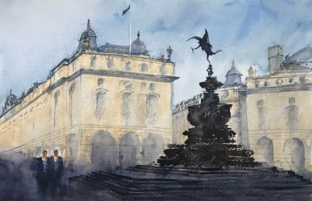 Watercolour painting of 'Picadilly Circus, London and the Statue of Eros' by John Haywood