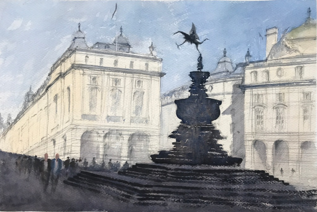 Watercolour painting take two of 'Picadilly Circus, London and the Statue of Eros' by John Haywood