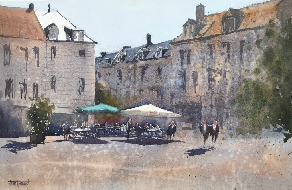 A watercolour painting of a lazy lunchtime on a summer's day in the square of Eglise Saint-Remy, Dieppe, Normandy by John Haywood