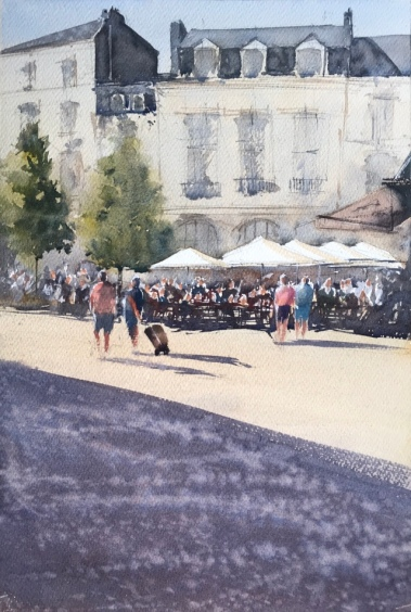 A watercolour painting by John Haywood of Dieppe's Place du Puits Salé and the bustling activity beneath the sunshades of the famous Café Des Tribunaux