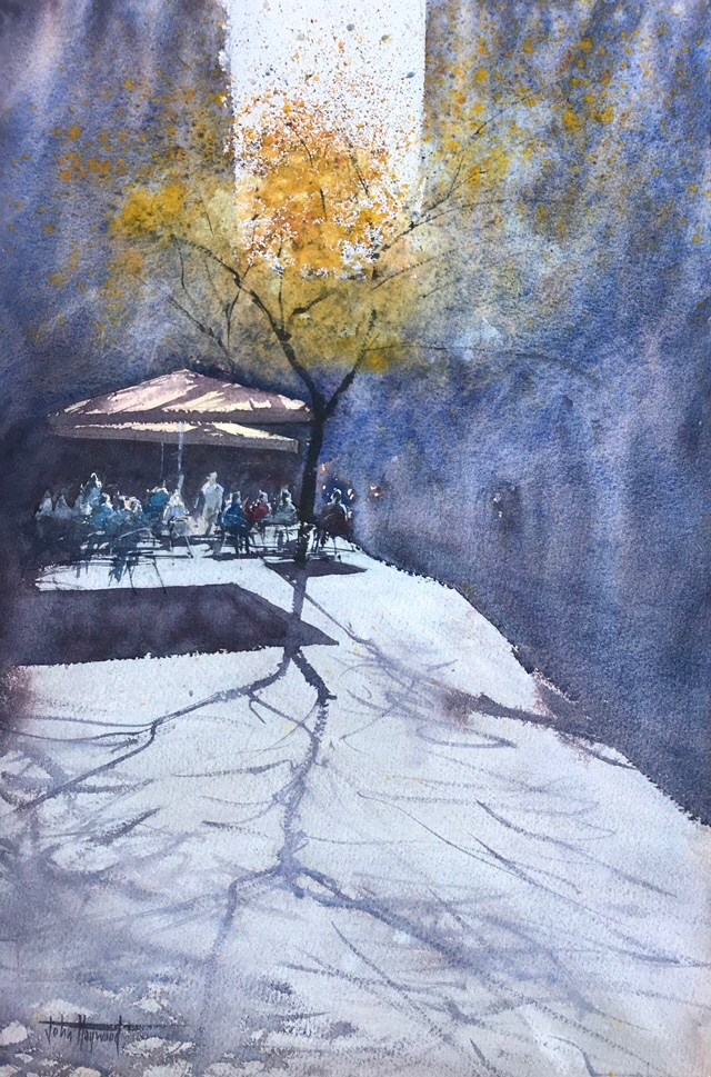 Watercolour of a Sunlit cafe on a Barcelona side street off Las Ramblas by John Haywood