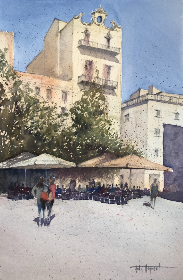 Watercolour painting of a bright day in Barcelona by John Haywood