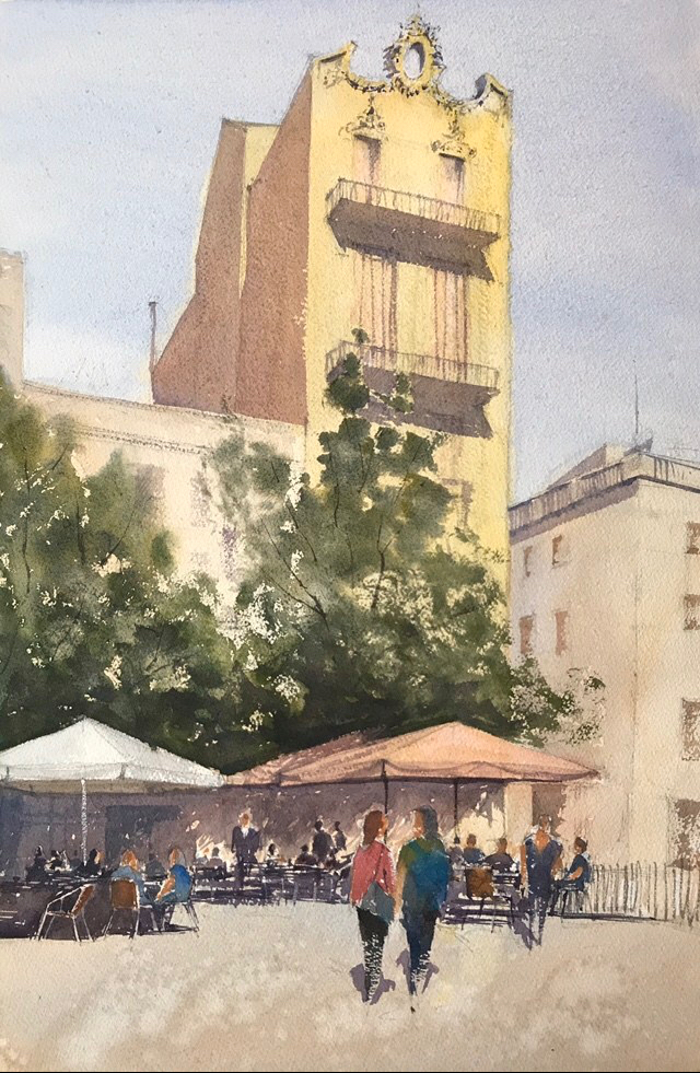 Watercolour painting of a bright day in Barcelona (take two) by John Haywood