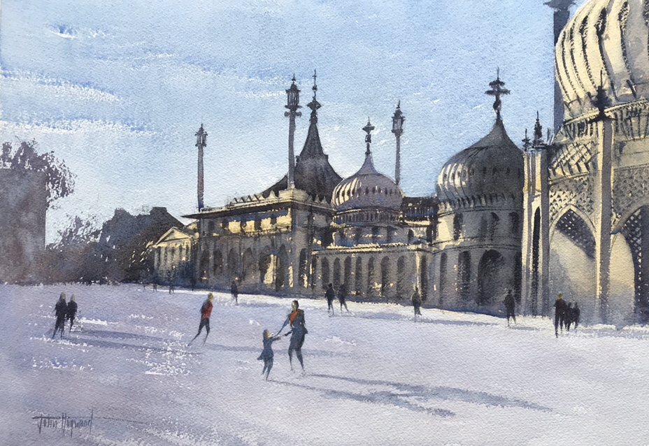 Watercolour of the ice ring at Brighton Pavilion by John Haywood