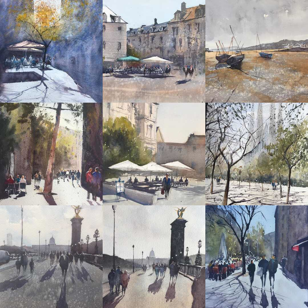 An Instagram montage of the top 9 watercolour paintings posted by John Haywood in 2017