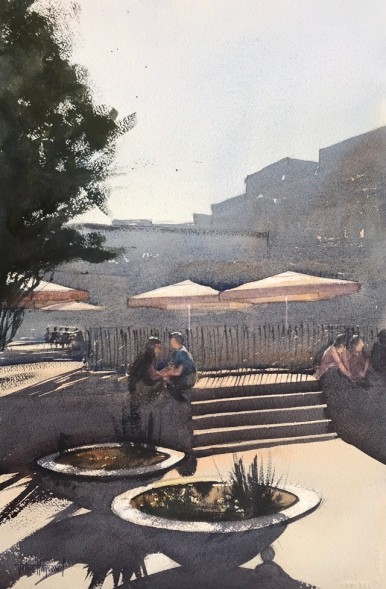 Watercolour painting of a sunlit square in Barcelona by John Haywood