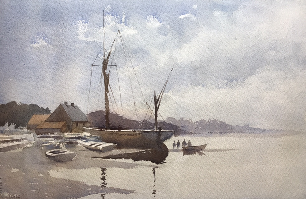 A watercolour tribute to Edward Seago and his painting 'Thames Barge, Butterman's Way' by John Haywood