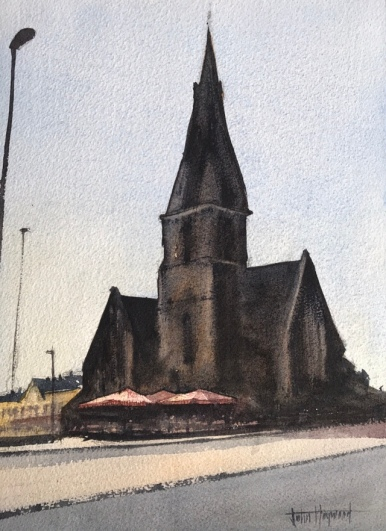 A watercolour painting of The Flower Stand in the shadow of St. John the Baptist Church, Palmeira Square, Hove (version one) by John Haywood