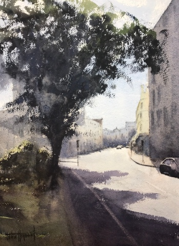 A watercolour painting view from Palmeira Square, Hove, looking East along Western Road towards Brighton by John Haywood