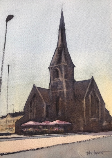Watercolour painting of The Flower Stand in the shadow of St. John the Baptist Church, Palmeira Square, Hove (version two) by John Haywood