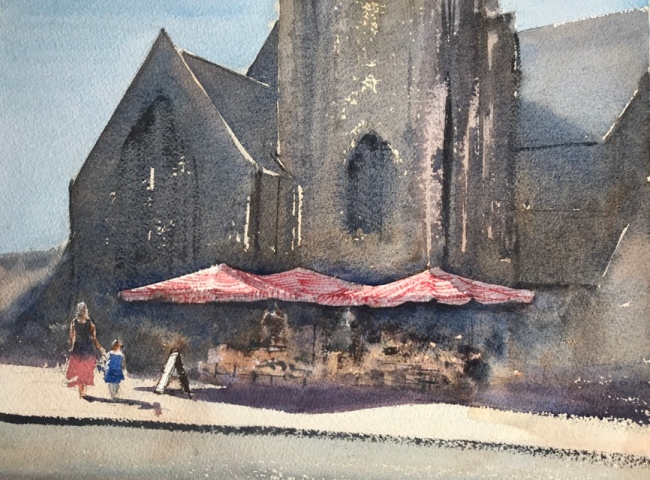 Watercolour painting of The Flower Stand at St. John the Baptist Church, Palmeira Square, Hove, by John Haywood