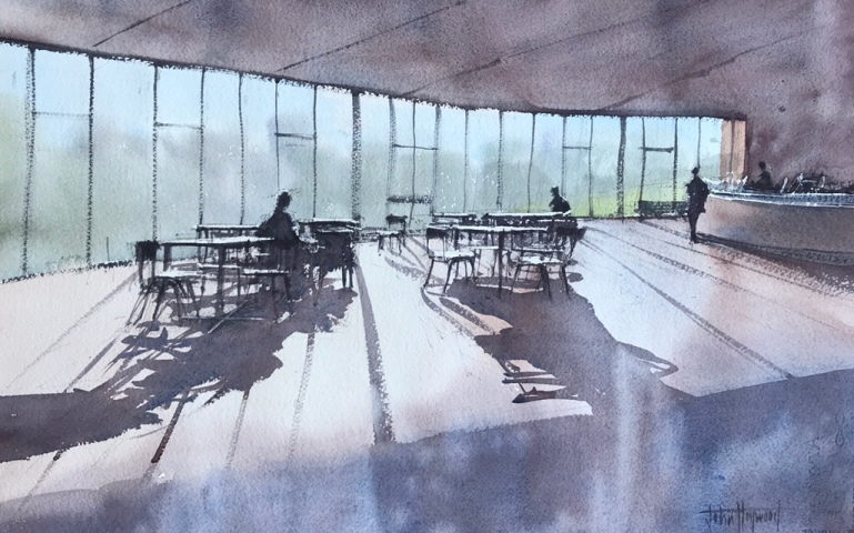 A watercolour painting of the cafe bar at the Attenborough Centre for Creative Arts, University of Sussex