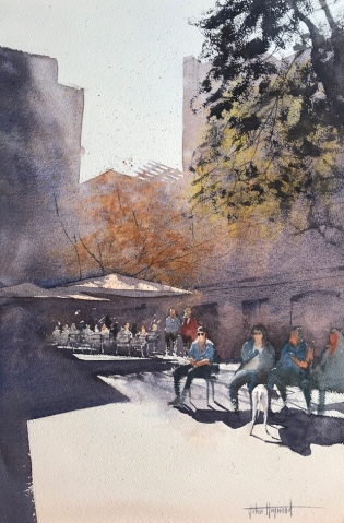 Sunlit Street Scene, Barcelona - a watercolour painting by John Haywood