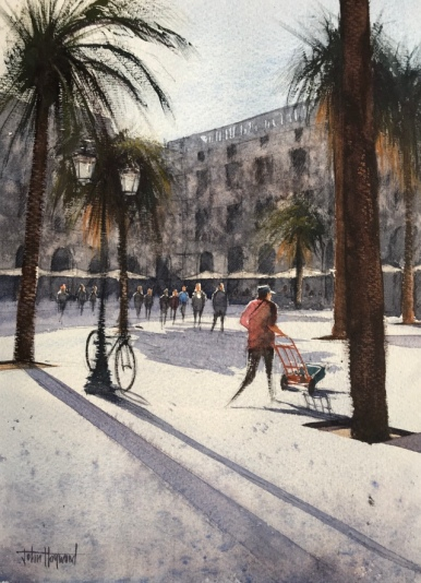 Morning Deliveries, La Placa Reial, Barcelona (2), a watercolour painting by John Haywood