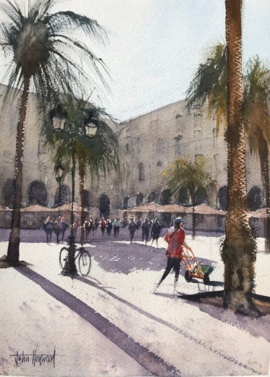 Morning Deliveries, La Placa Reial, Barcelona (1), a watercolour painting by John Haywood