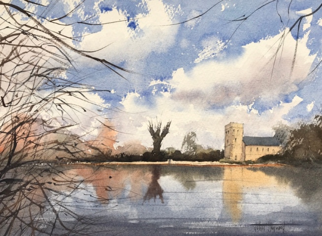 Falmer Village, Sussex - a watercolour painting by John Haywood