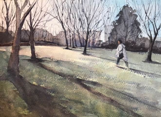 A Stroll in the Park - St Ann's Well Park, Brighton - a watercolour painting by John Haywood
