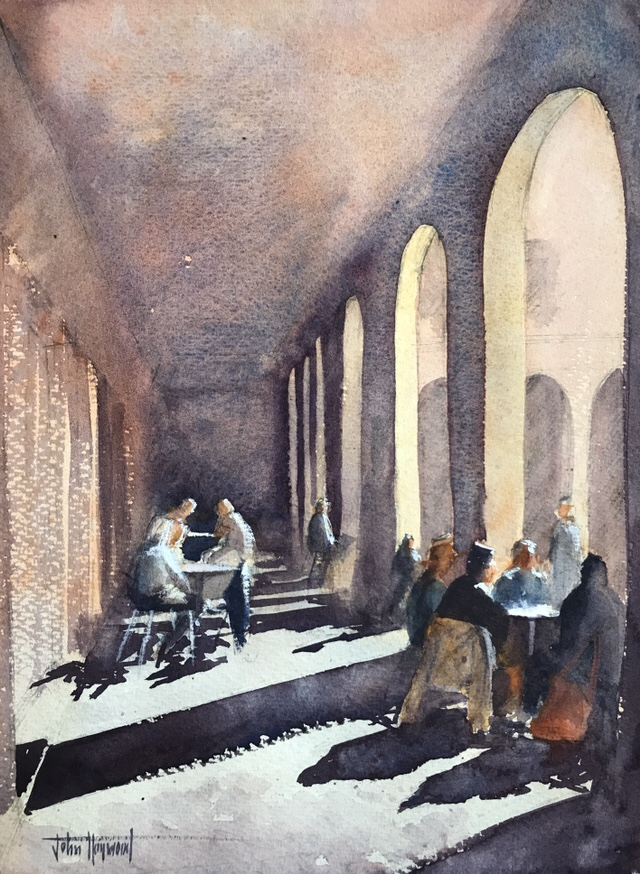 Watercolour painting, morning coffee, Barcelona, by John Haywood