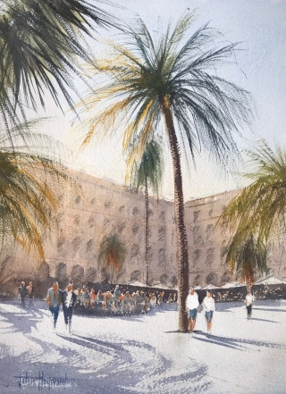 La Placa Reial, Barcelona, a watercolour painting by John Haywood