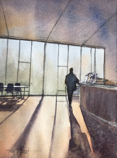 Cafe, Attenborough Centre for the Creative Arts, University of Sussex, a watercolour painting by John Haywood