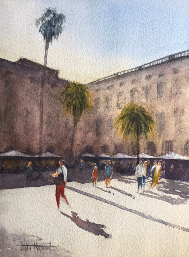 Watercolour painting: Red Trousers, La Place Reial, Barcelona (II) by John Haywood