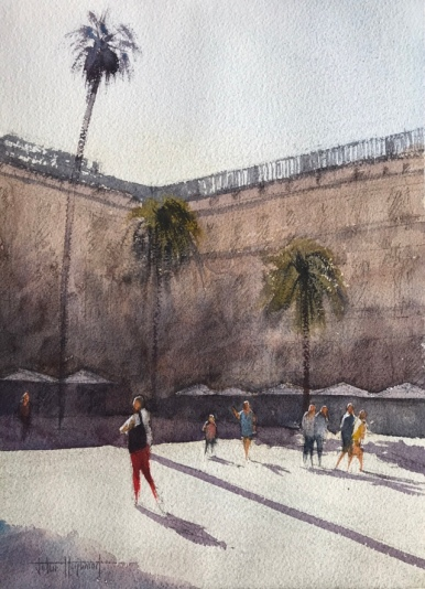 Watercolour painting: Red Trousers, La Place Reial, Barcelona (I) by John Haywood