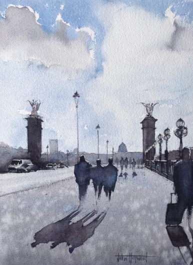 A watercolour painting of figures and shadows on the Pont Alexandre III Bridge, Paris, by John Haywood