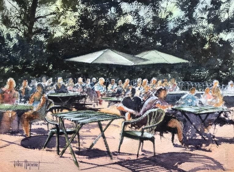 Cafe al fresco, Pavilion Gardens, Brighton, a watercolour painting by John Haywood