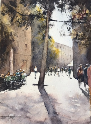Barcelona street scene - a watercolour painting by John Haywood