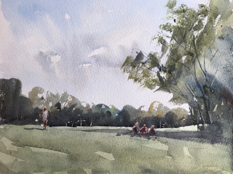 A plein air watercolour sketch by John Haywood