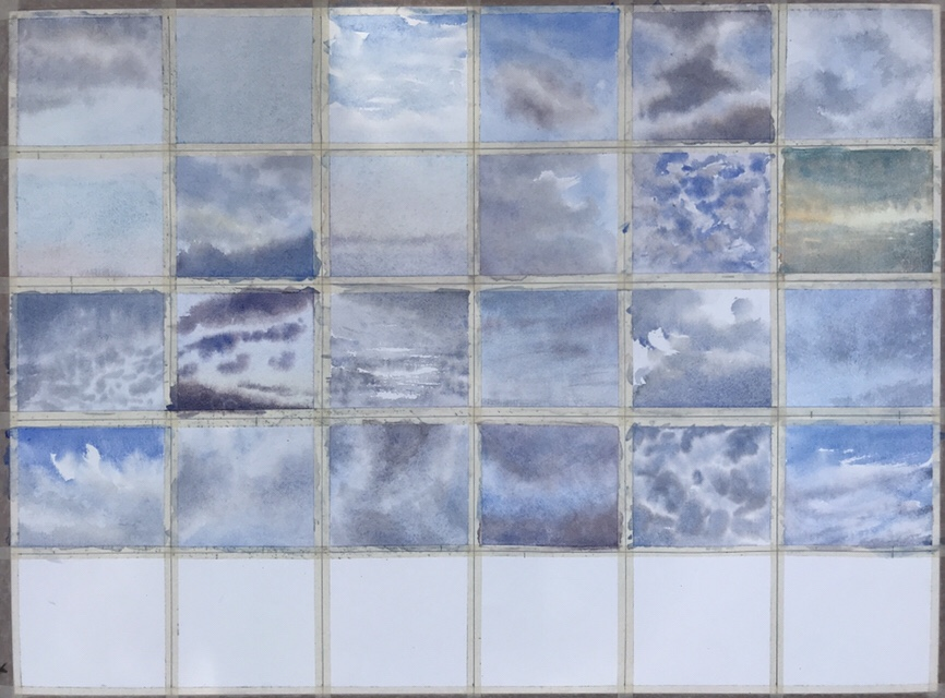 30 skies of June, a work in progress - a series of watercolour paintings by John Haywood