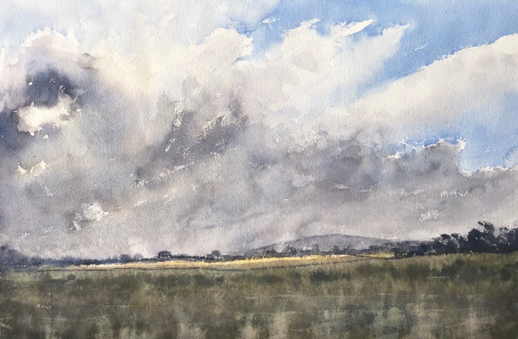 Clouds over the Downs, a watercolour painting by John Haywood