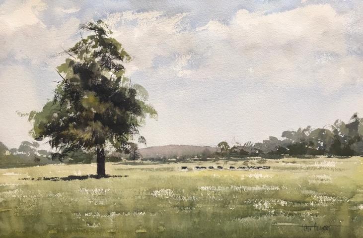 A landscape watercolour painting by watercolour artist John Haywood