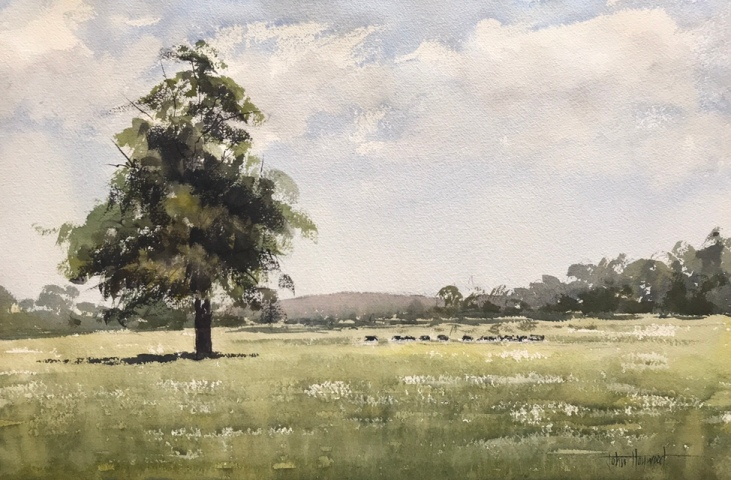 A landscape watercolour painting by watercolour artist John Haywood