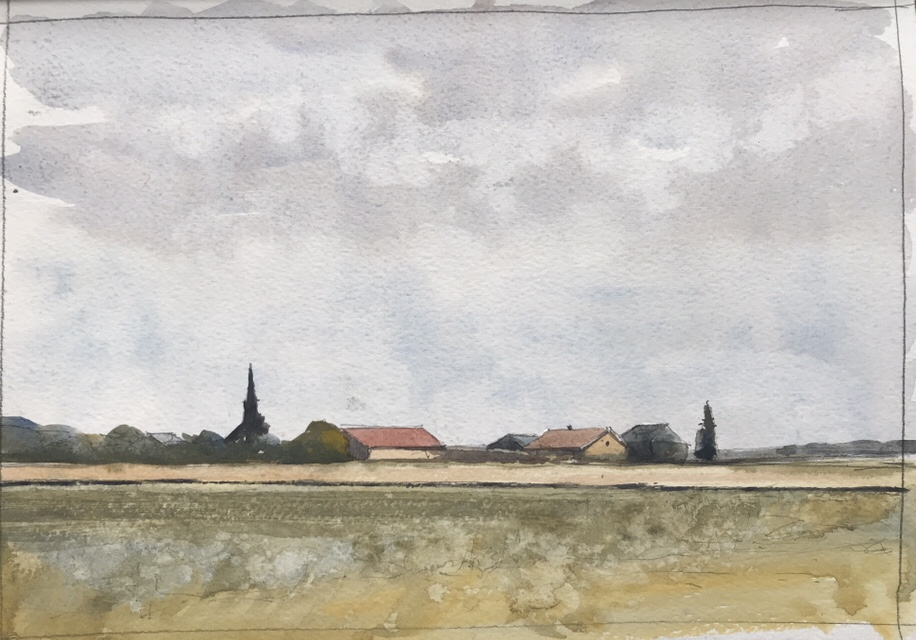 Watercolour sketch, 'A train runs through it' by John Haywood