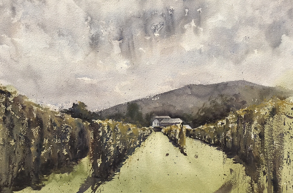 A watercolour painting by John Haywood of the Sugarloaf vineyard, (with the Blorenge in the background)