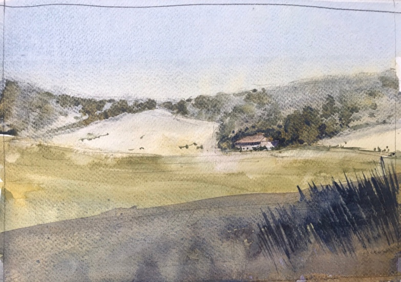Watercolour sketch of Wild Park, Brighton, looking toward's Clare's cafe by John Haywood