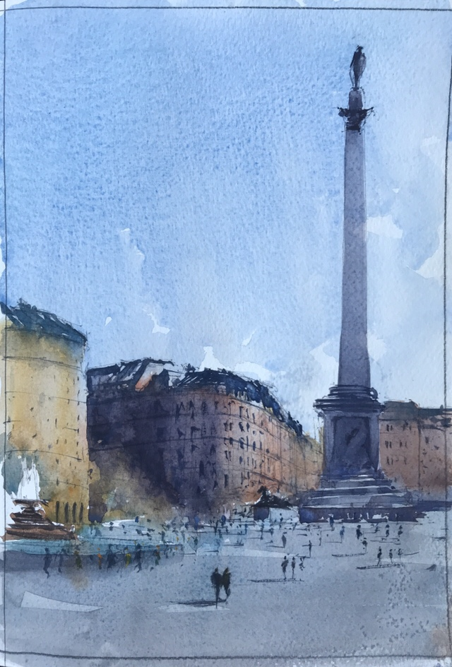 Watercolour sketch, Trafalgar Square, London by John Haywood
