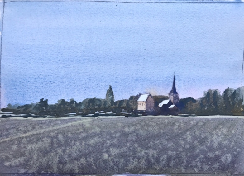 Watercolour sketch of the sun going down on a small town in France by John Haywood