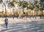 Waterolour painting of an entrance to the Park de a Ciutadella, Barcelona, by John Haywood