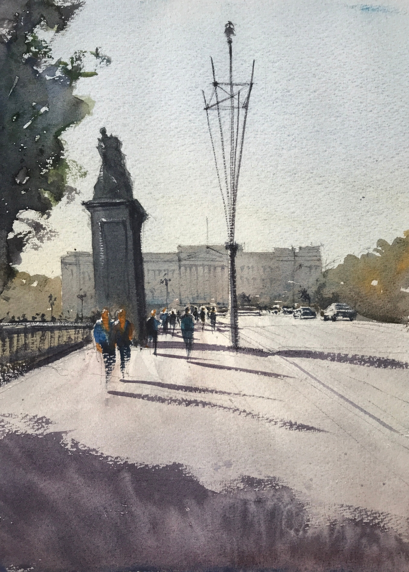 Plein air watercolour painting from The Mall looking towards Buckingham Palace by John Haywood