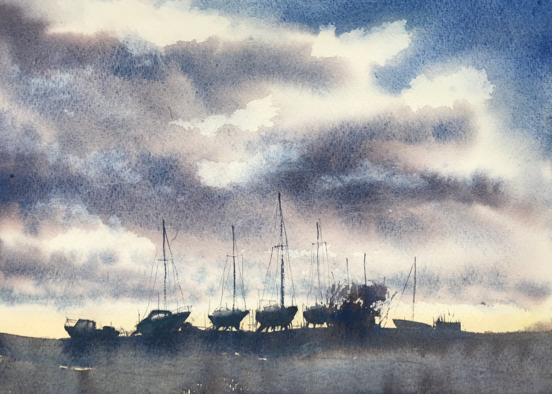 Watercolour painting of boats  against a sunset by John Haywood