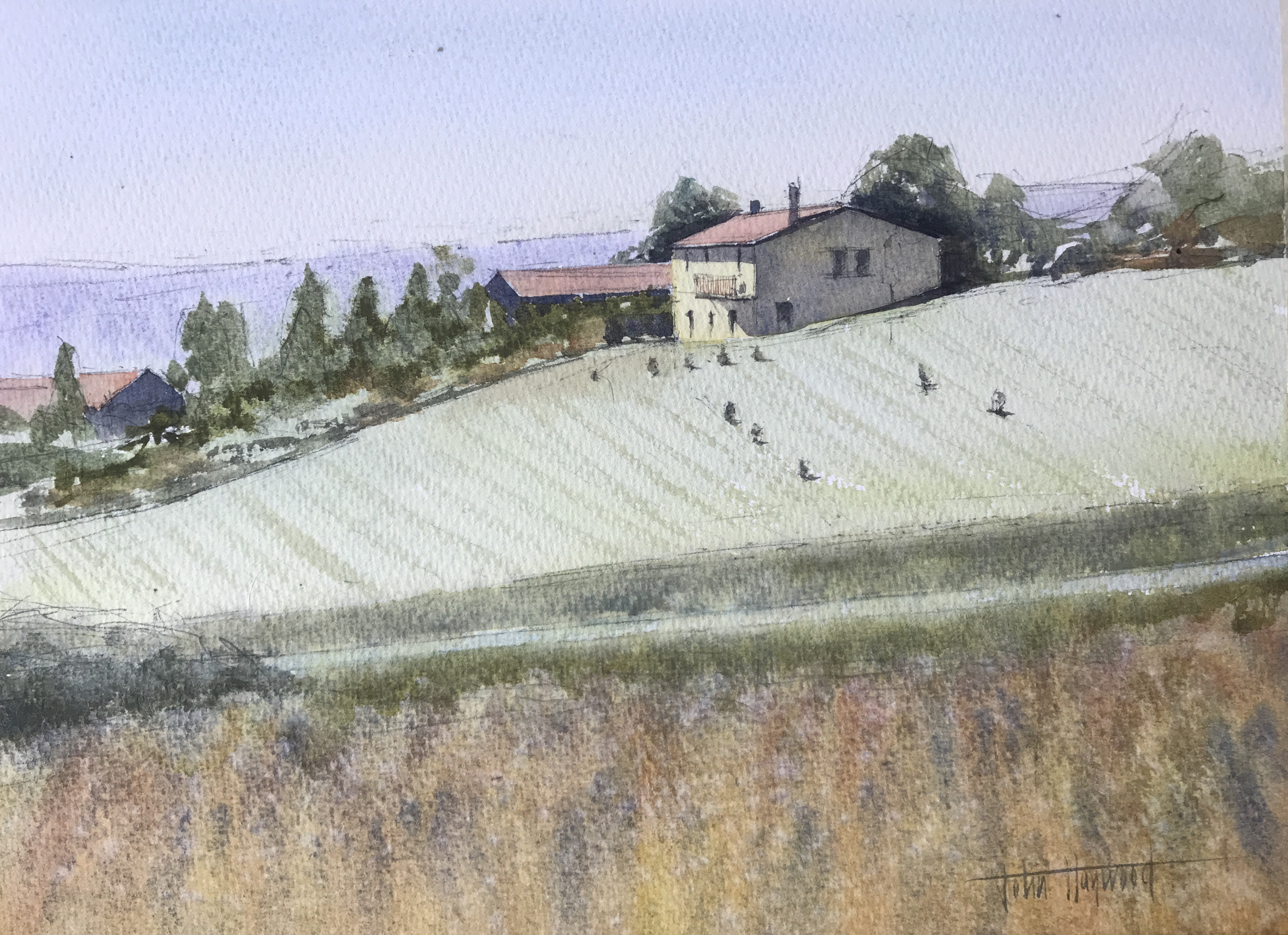 Watercolour painting of a House on hill in the Dordogne in France by artist John Haywood