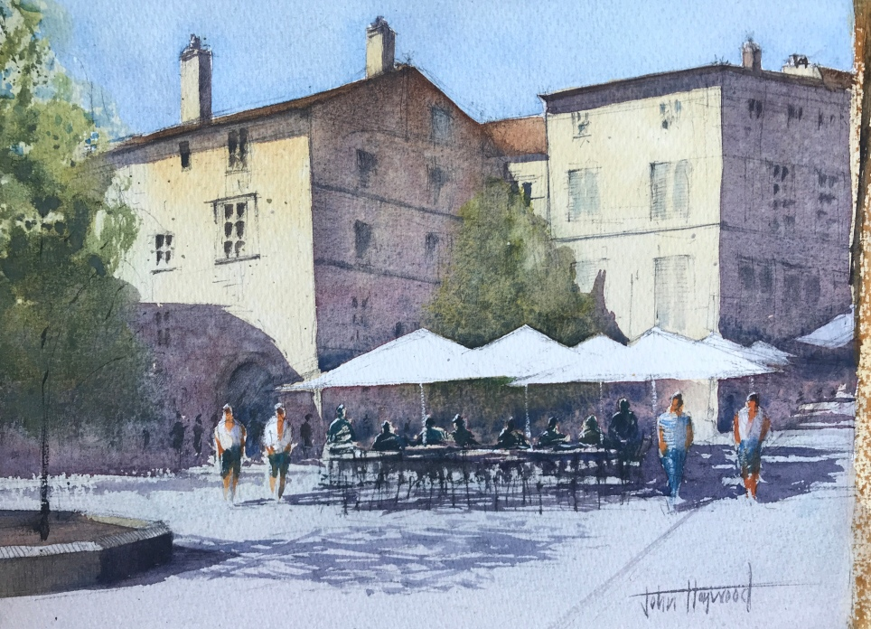 A watercolour painting of a square in the French town of Perigueux in the Dordogne by artist John Haywood