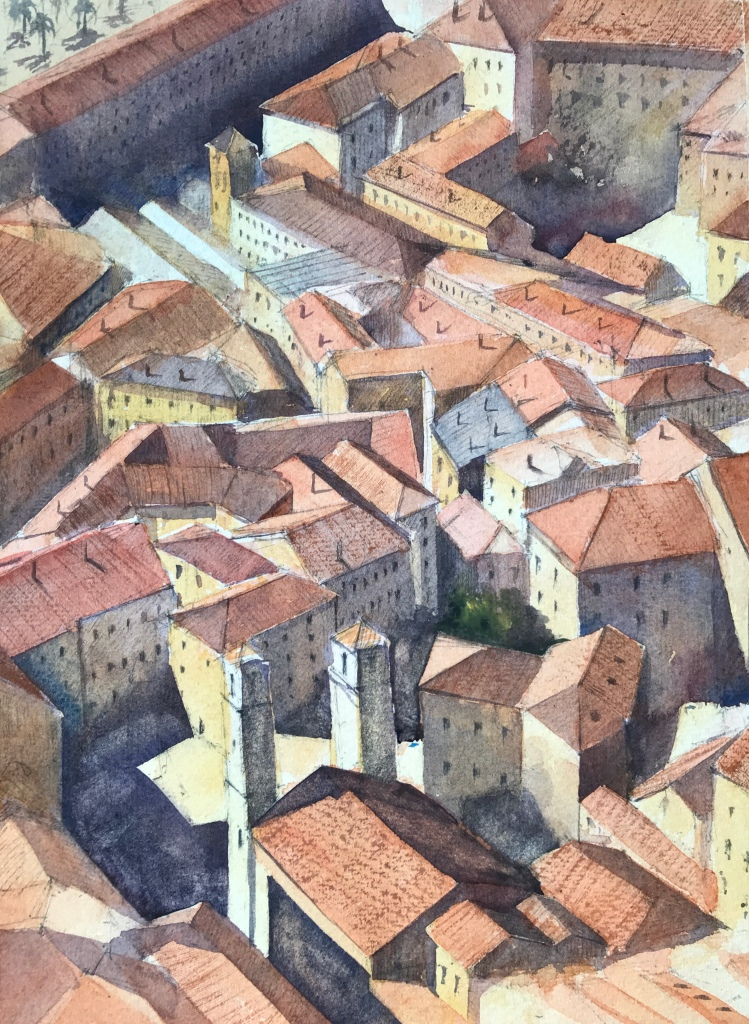 A watercolour painting of the rooftops of Kotor, Montenegro by artist John Haywood