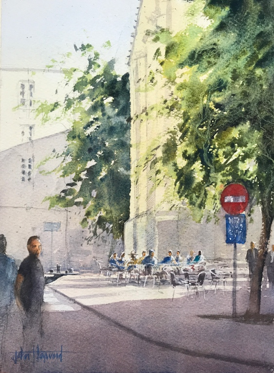 Watercolour painting, Rue du 19 Aout 1942, Dieppe, with Eglise St Remy in the background by John Haywood