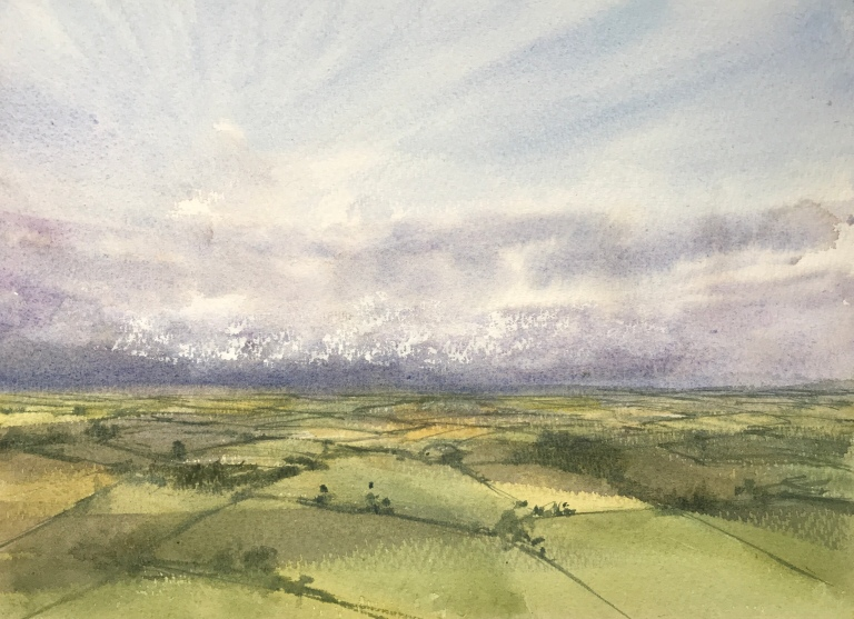 Watercolour painting of a view of the Weald from Firle Beacon in the South Downs by John Haywood